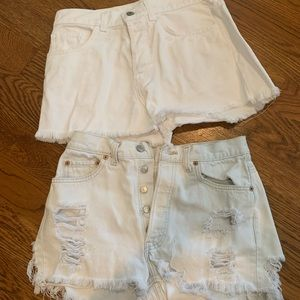 2 pairs of white jean shorts